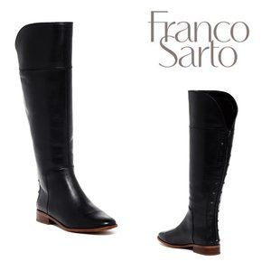 Franco Sarto Roselle Leather Black Studded Tall Boots With Back Zipper Sz 7M